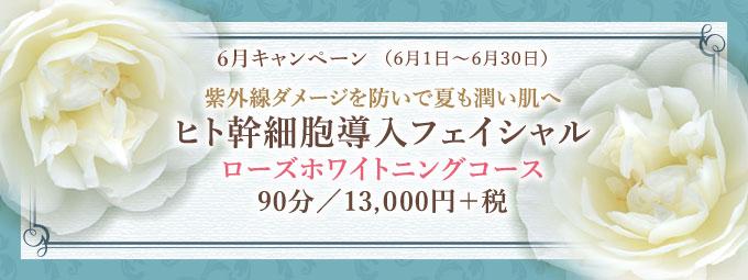 6月キャンペーン「ヒト幹細胞フェイシャル ローズホワイトニングコース」90分/13,000円+税