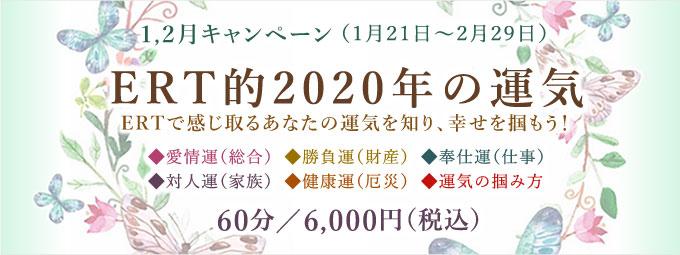 1,2月キャンペーン「ERT的2020年の運気」60分/6,000円(税込)