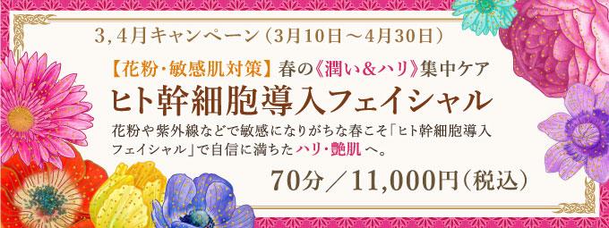 3,4月キャンペーン「ヒト幹細胞導入フェイシャル」70分/11,000円(税込)